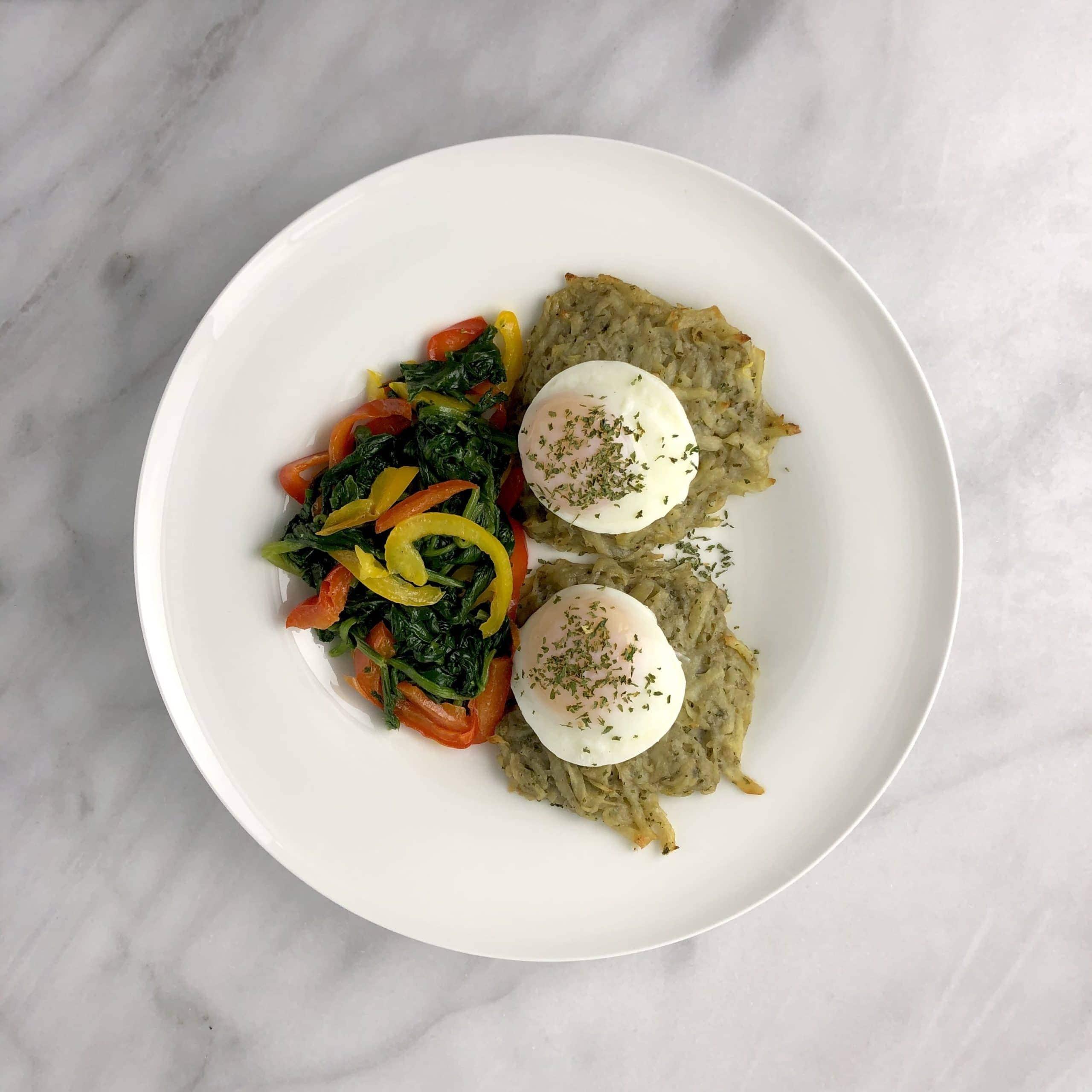 Poached Eggs & Potato Latkes